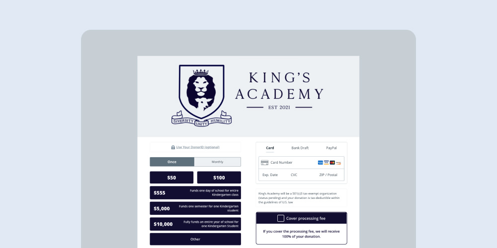 King's Academy donation page for higher education fundraising
