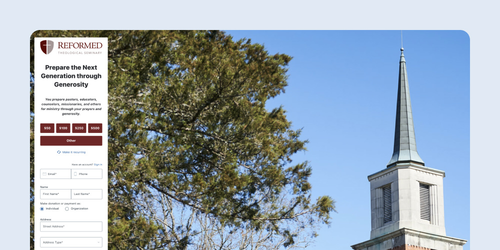Reformed Theological Seminary donation page for higher education fundraising