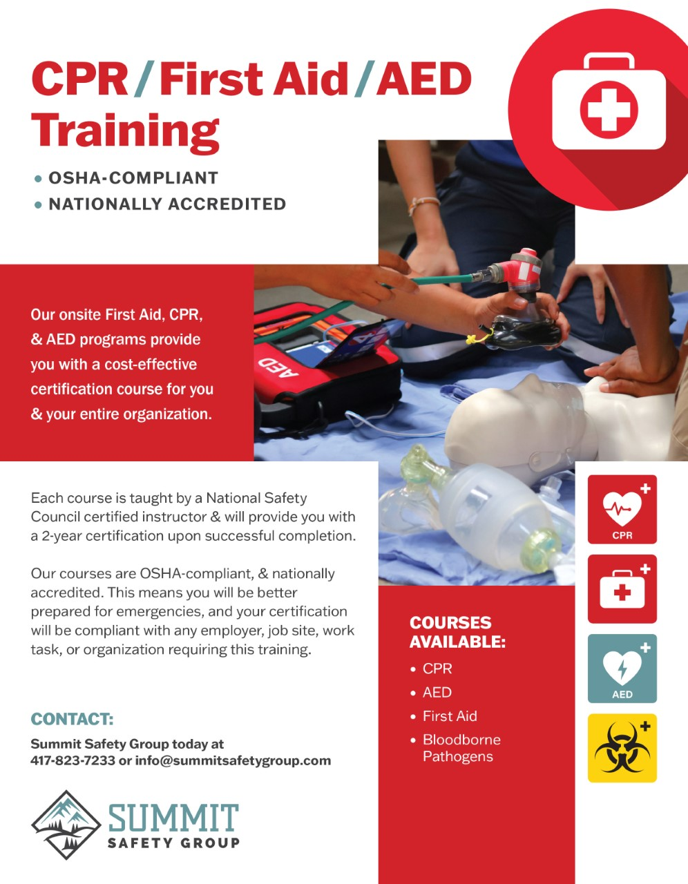 CPR, First Aid, AED training flyer