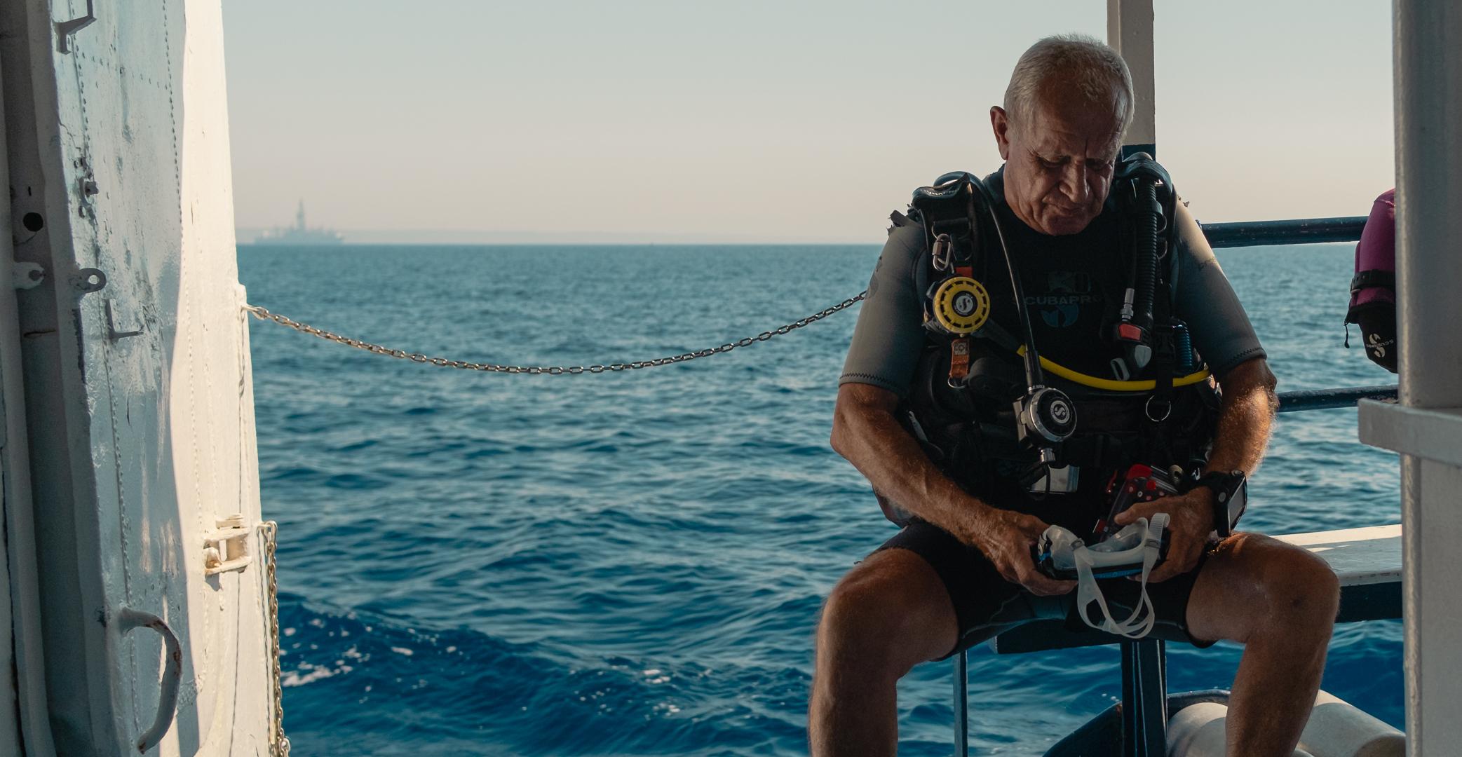 Kalliopi Dive college Zenobia Shipwreck Diving - on the ship