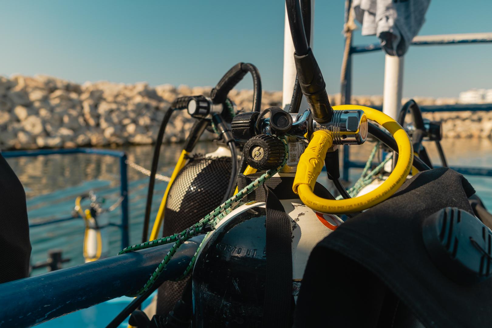 Kalliopi Dive college Zenobia Shipwreck Diving - tank equipment
