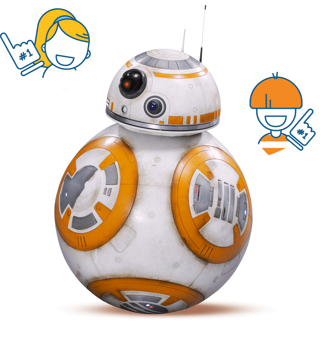 BB-8 with hearts and smiling faces
