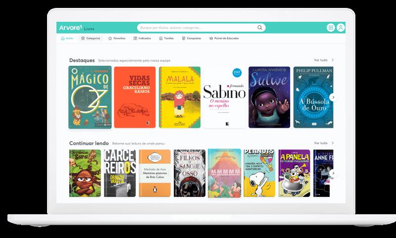 Tela com página inicial da plataforma e capas de livros diferentes