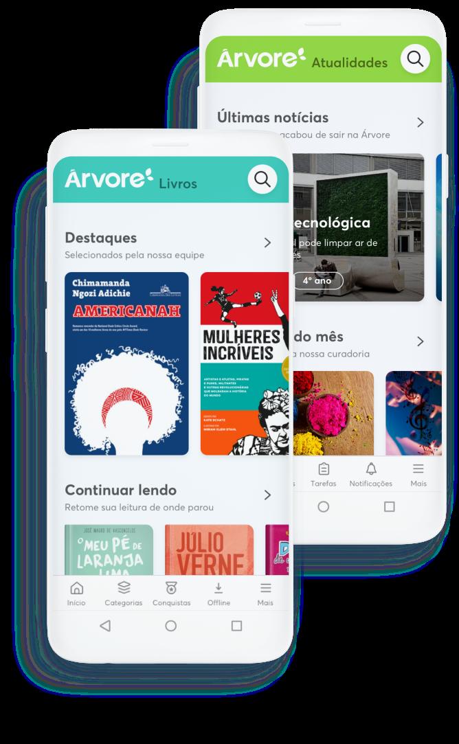 Duas telas de celular com os apps Árvore Livros e Árvore atualidades