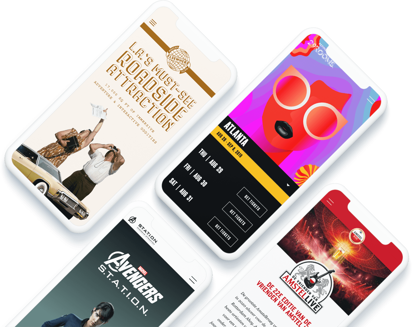 Mobile phone images with Ample account services mockups. Eventbrite, Mailchimp, Website examples.