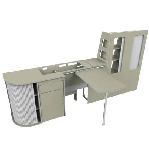 A 3D visual of some campervan furniture