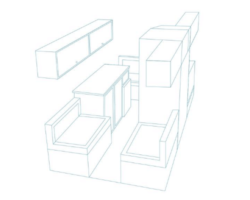 A 3D layout of a campervan conversion
