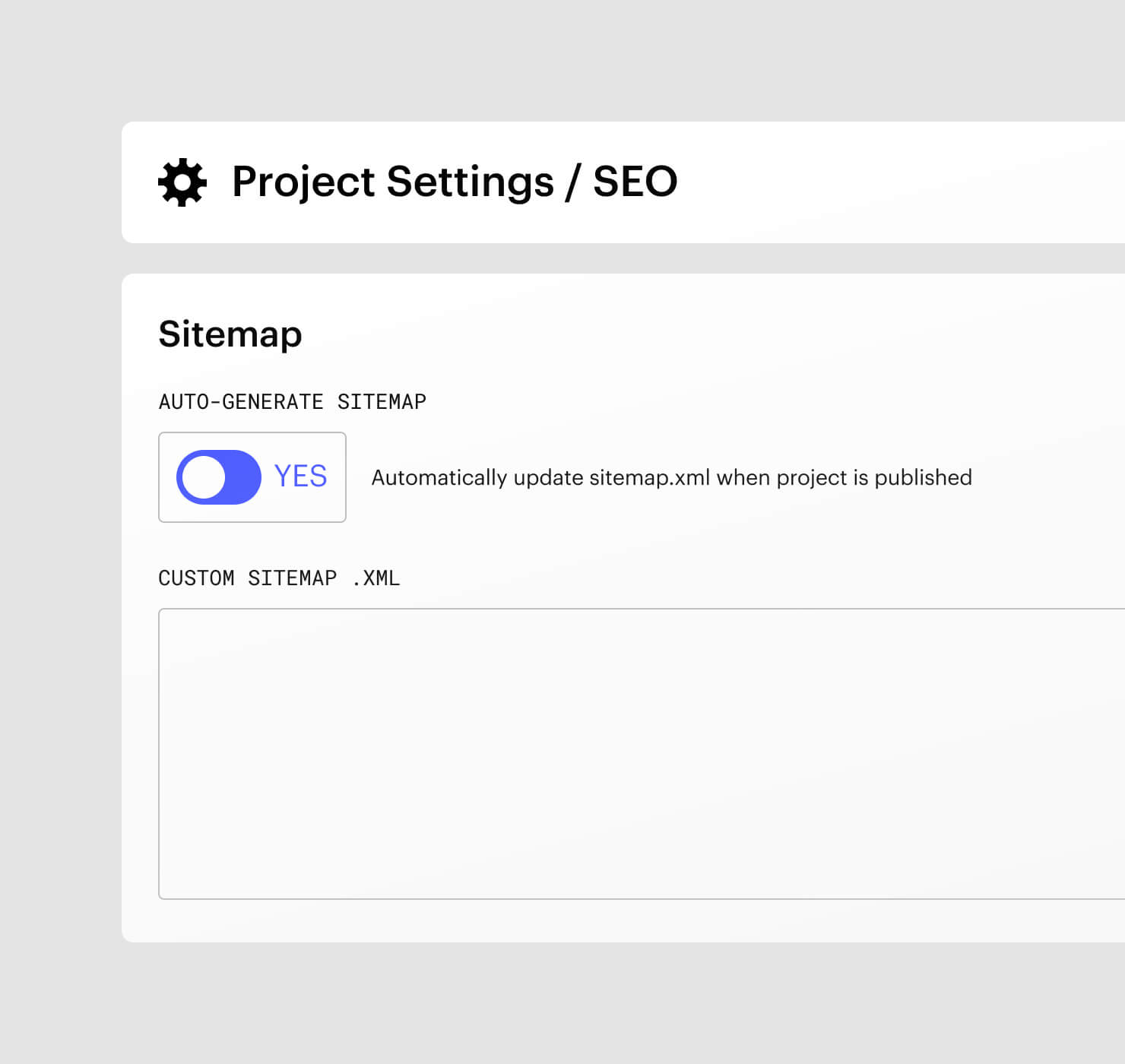 Project settings UI for sitemaps