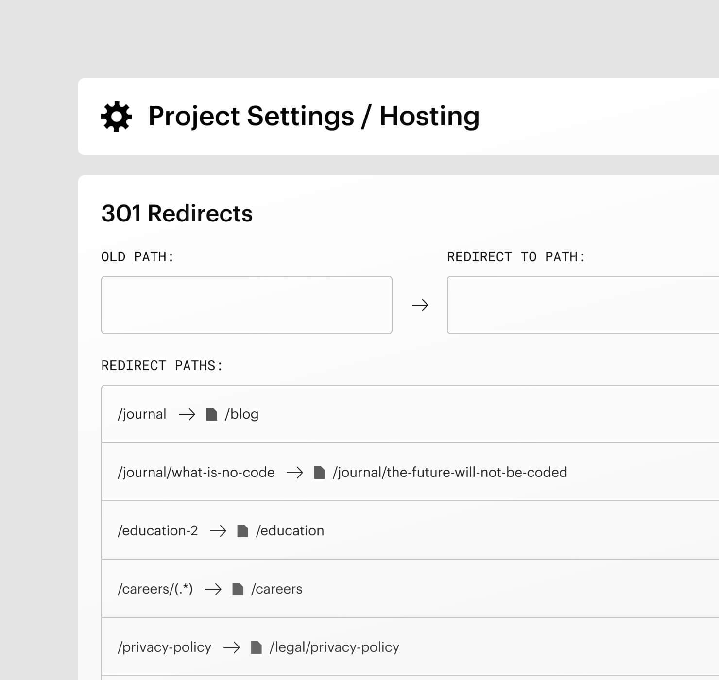 Project settings UI for 301 redirects