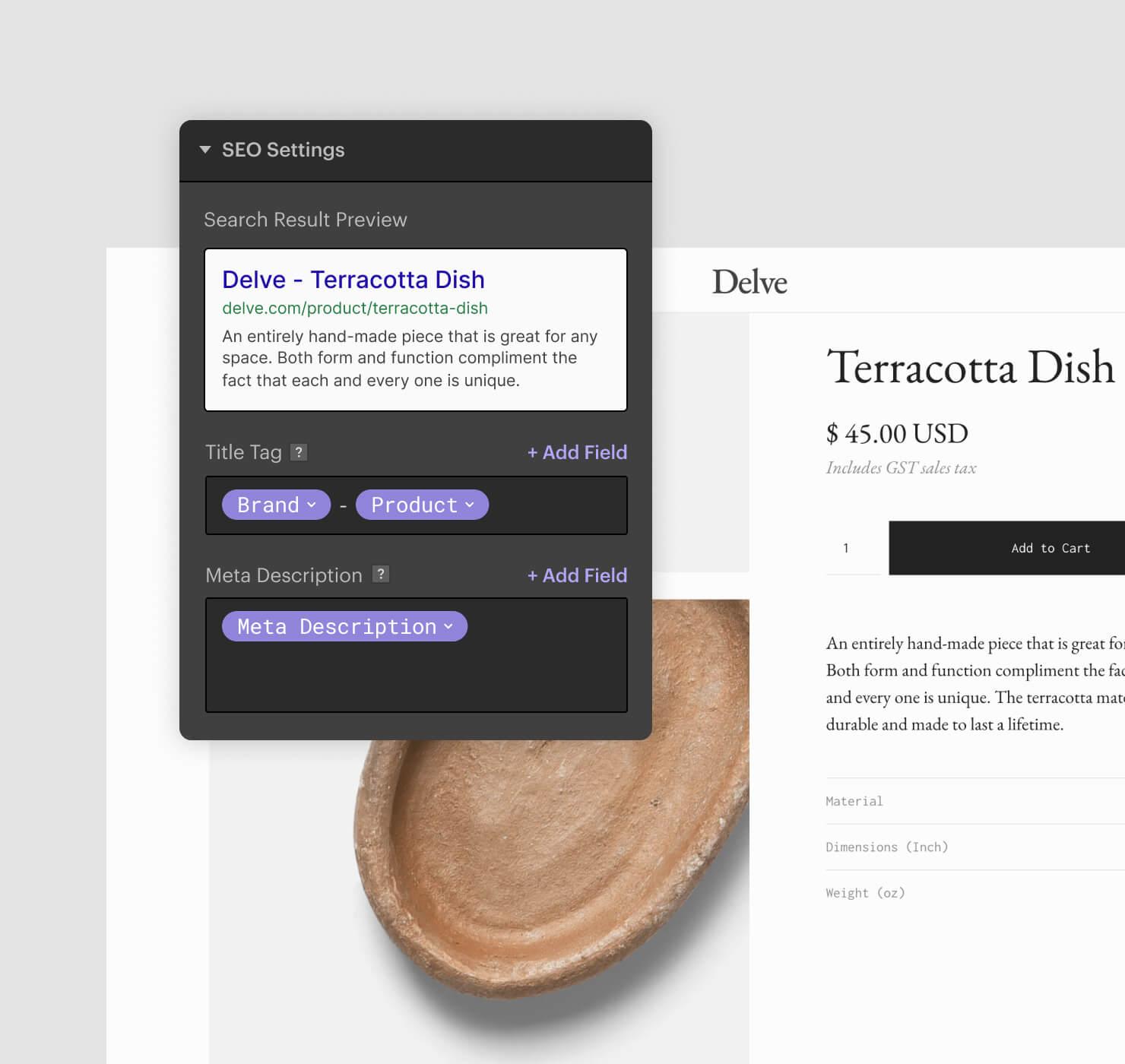 Designer UI of Meta Title and Description settings
