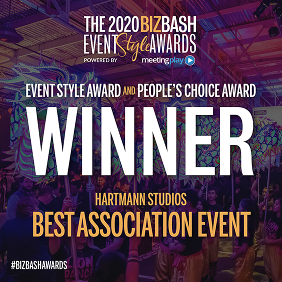 The 2020 BizBash Event Style Awards, powered by Meeting Play.  Event Style Award and People's Choice Award Winner  Hartmann Studios, Best Association Event