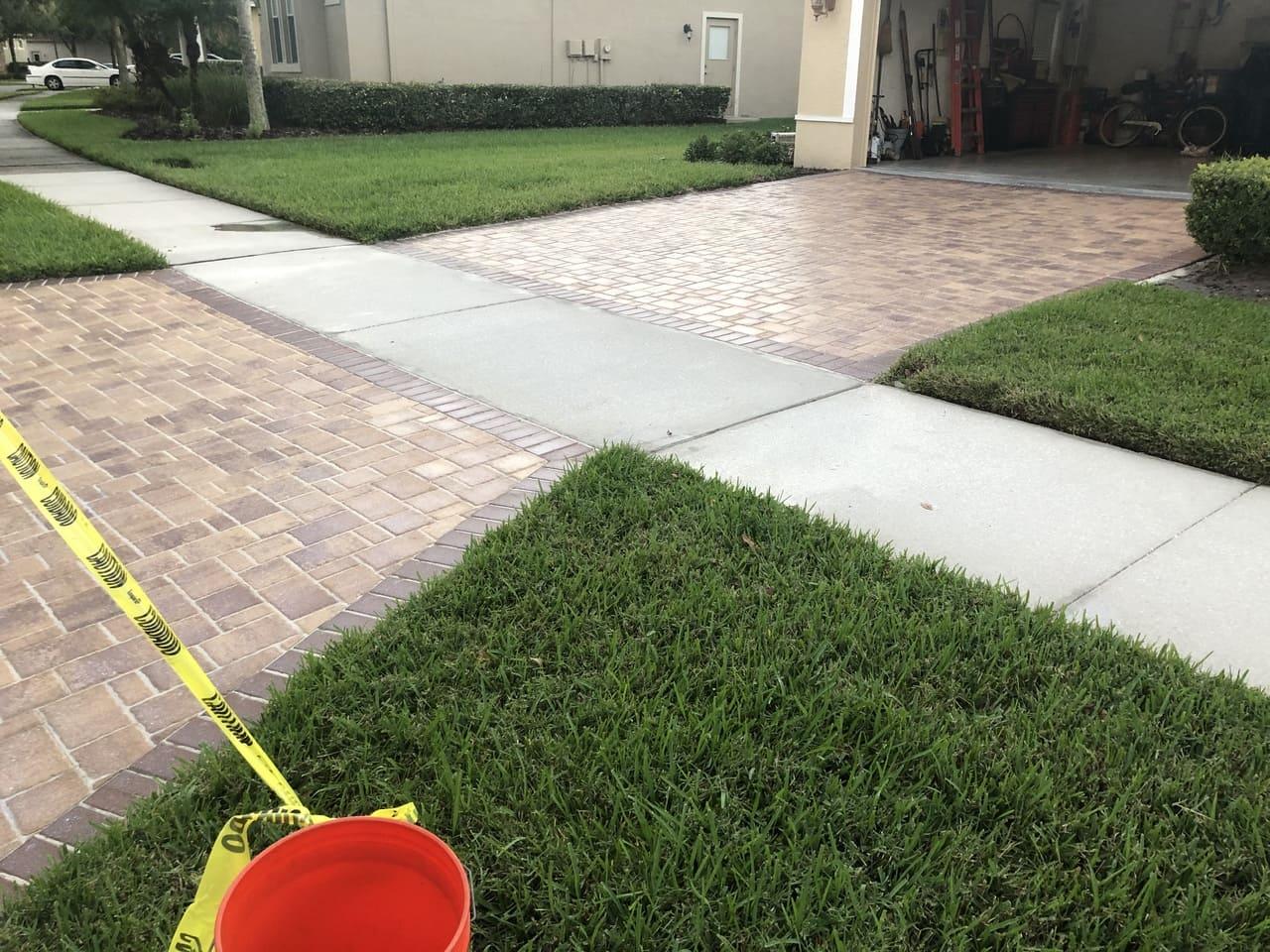 new pavement paver stripping