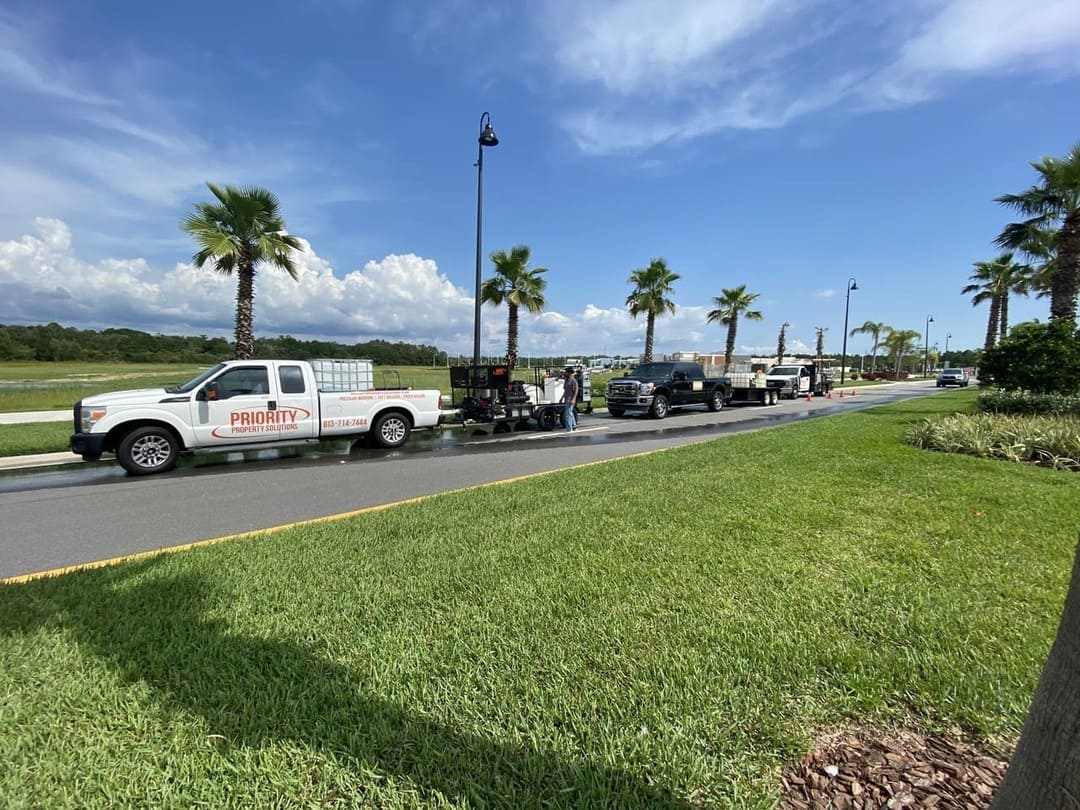 cars road paver installation
