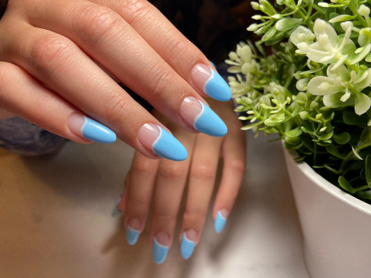 Baby blue gel nails
