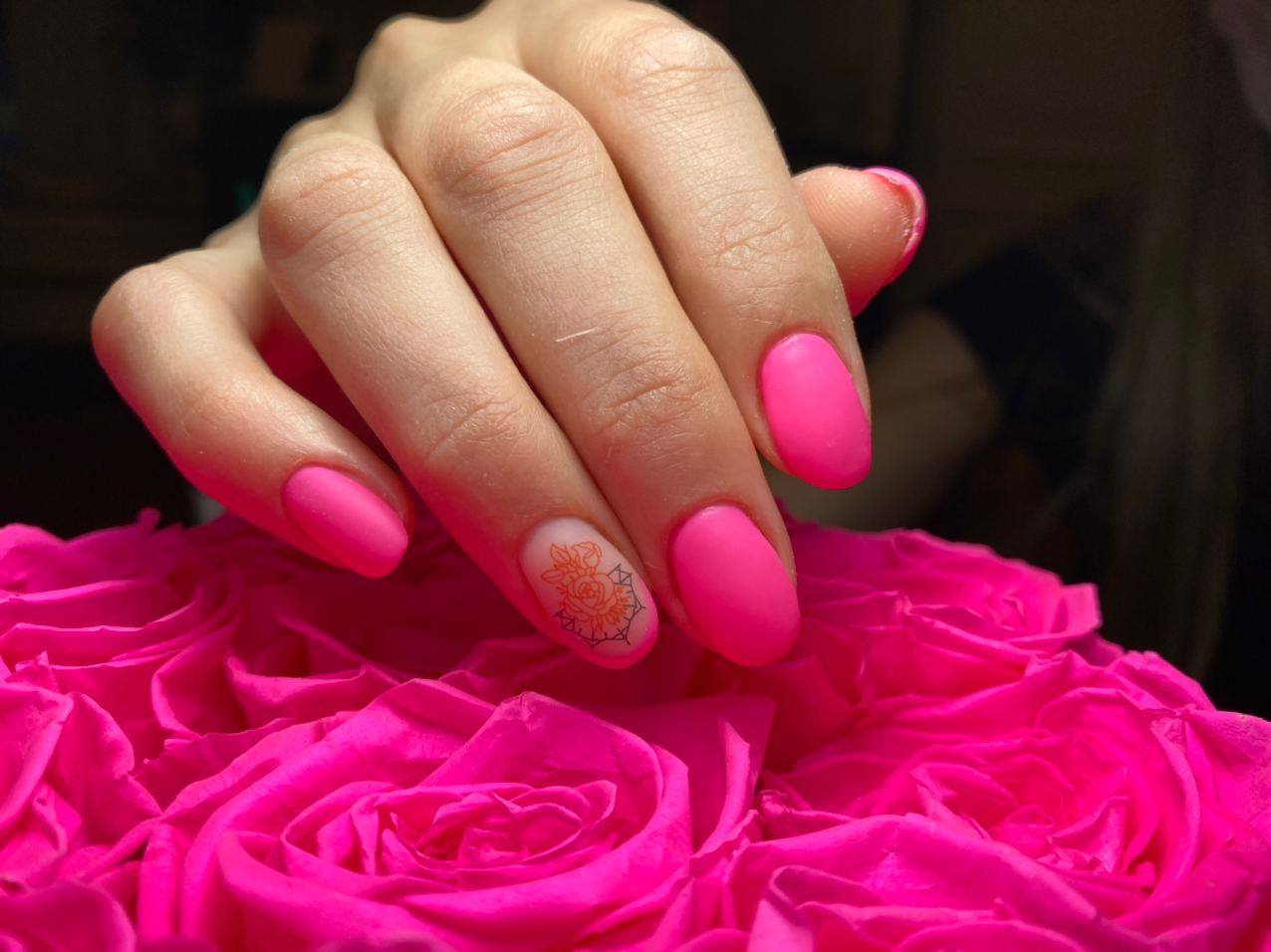 Neon Pink Nails with Design