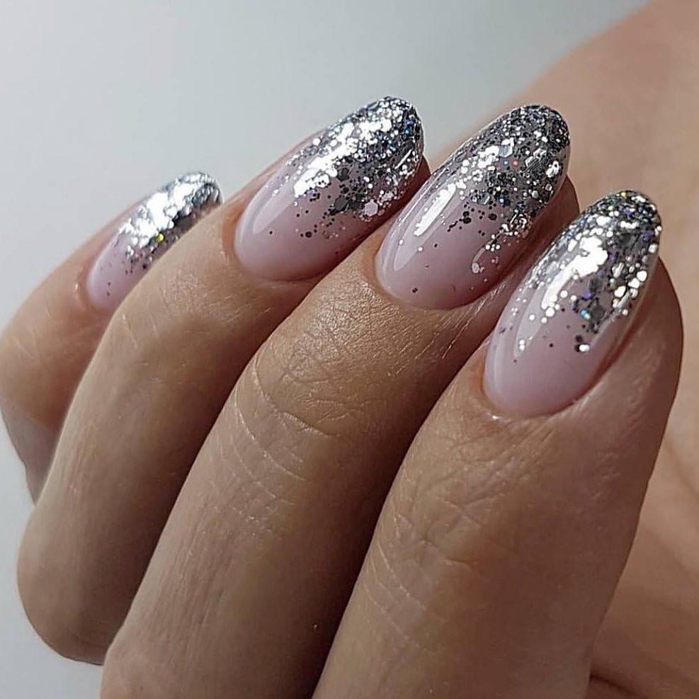 Perfect Silver Glitter Nude Manicure