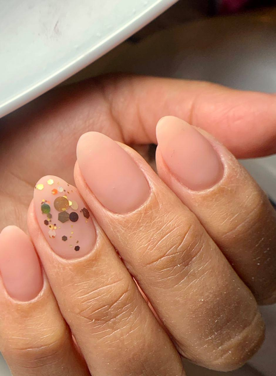 Beige Nails with Gold Glitters