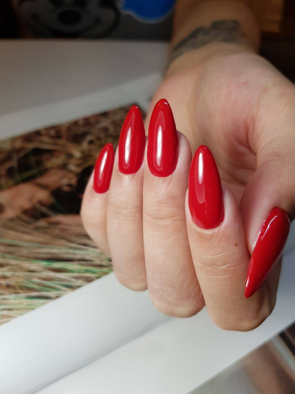 Long Nails with Red Polish