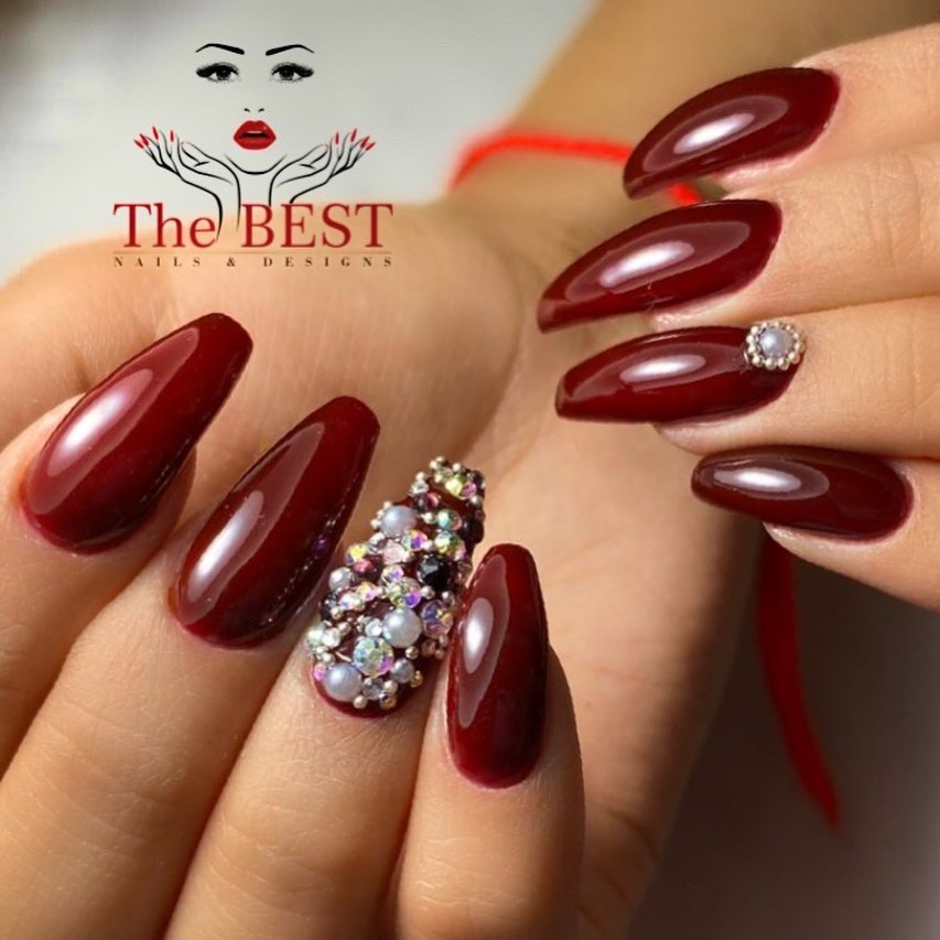 Burgundy Nails with Stone Design