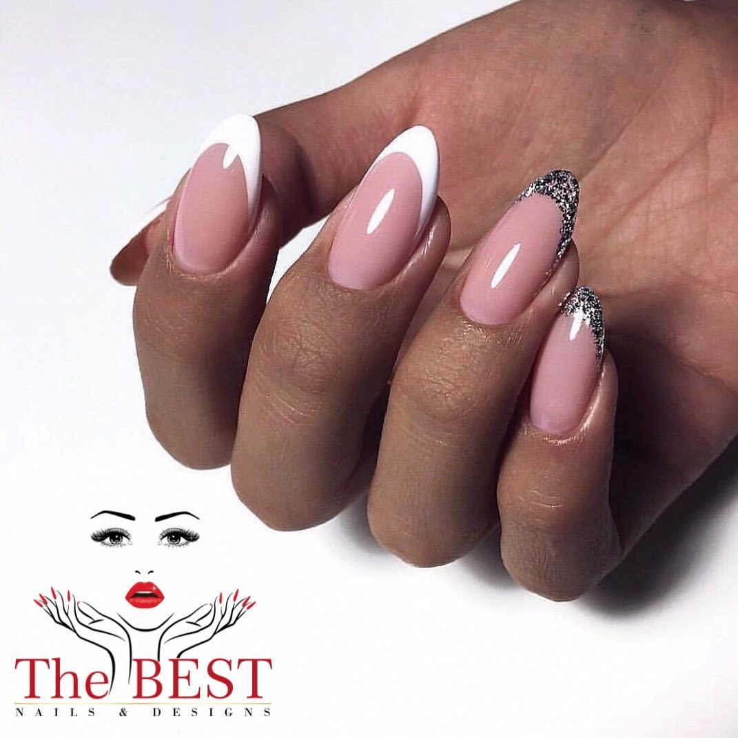 French Mani with Stones