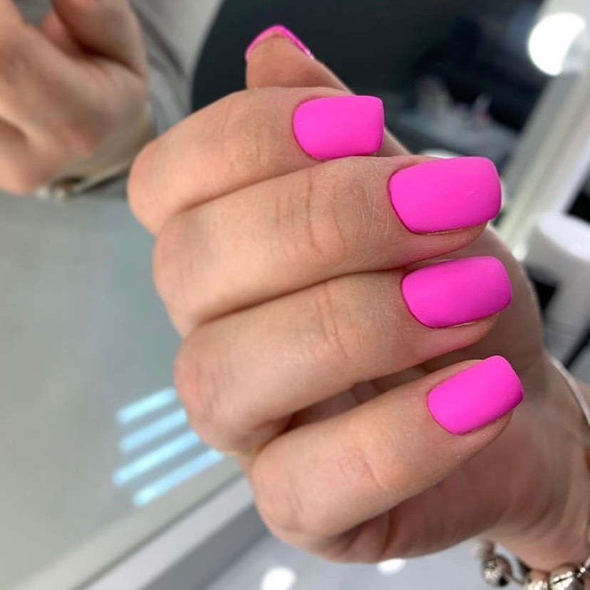 Neon Pink Matte Nails