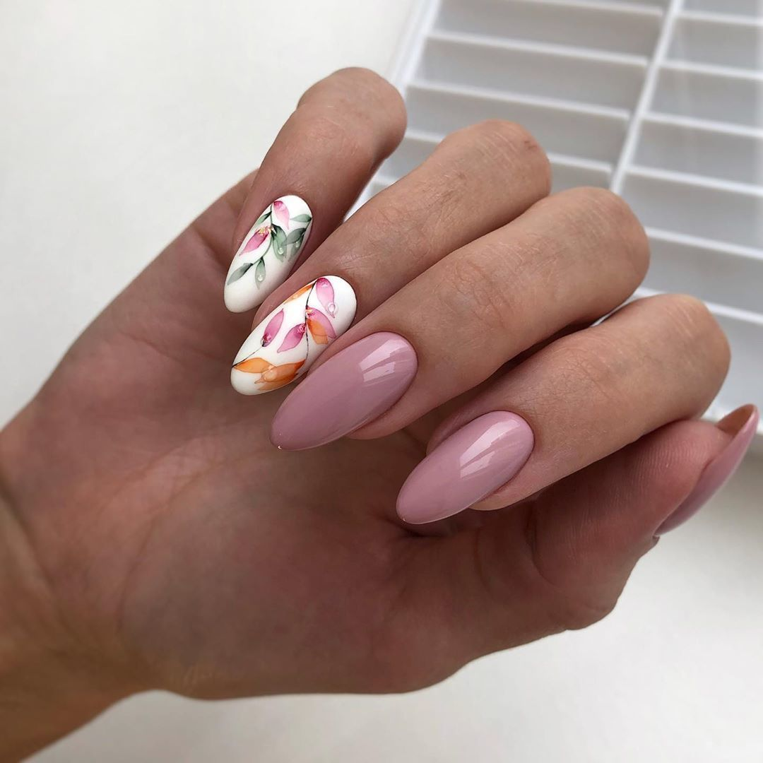 Pink Nails with Flower Art