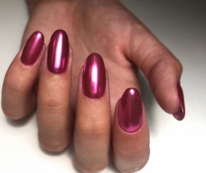 Silky Shiny Red Nails