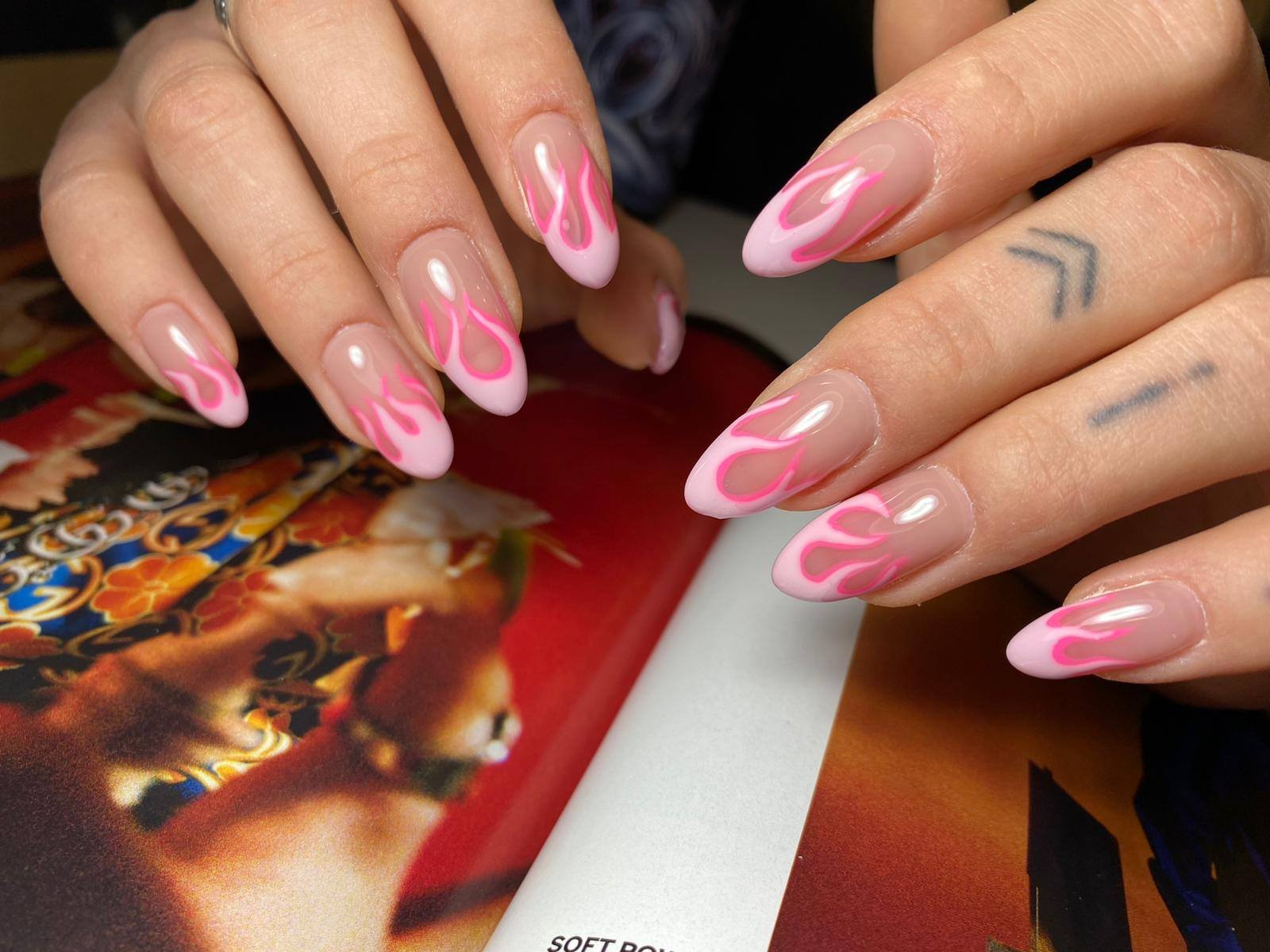 Creative Pink Fire Nail Design