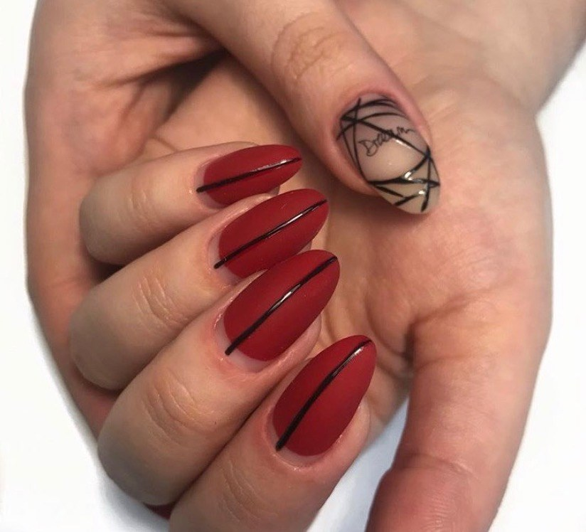 Red Matte Manicure with Black Lines