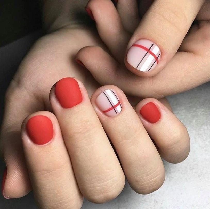 Red Matte Nail Design