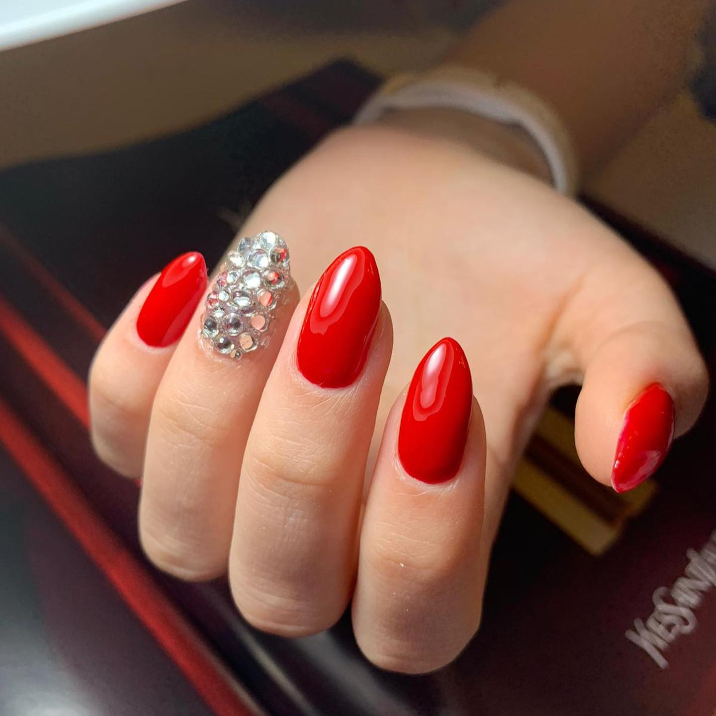 Beautiful Red Nails with Stones
