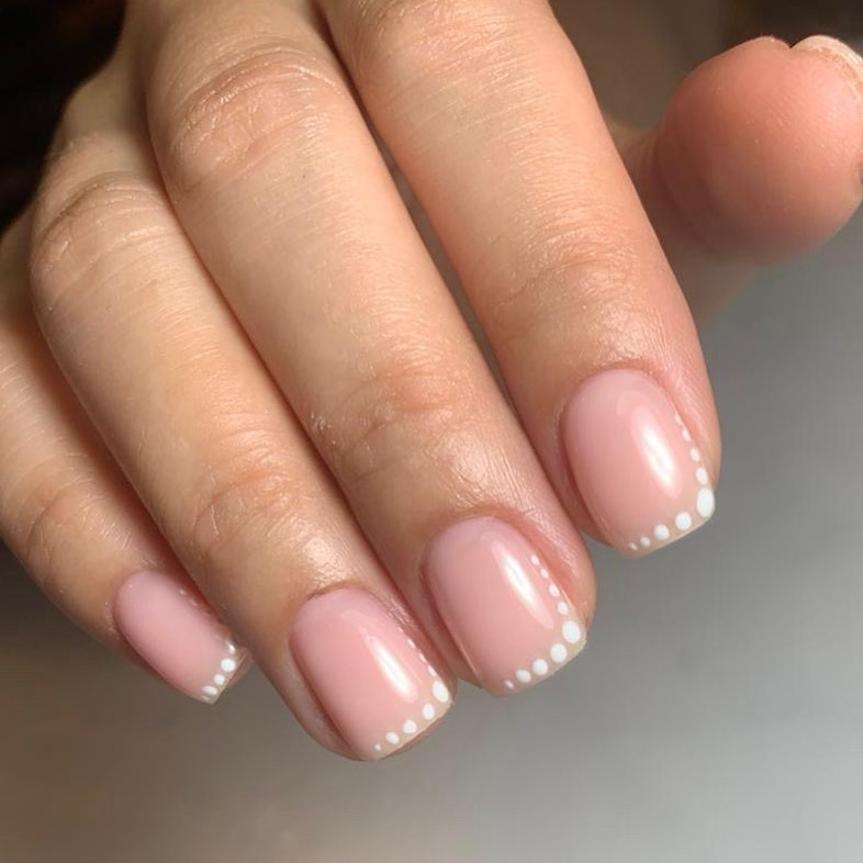 Simple Nude Mani with White Dots