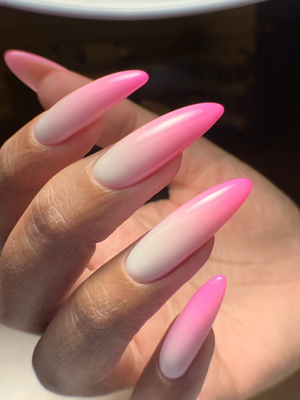 Long Pink Ombre Nails