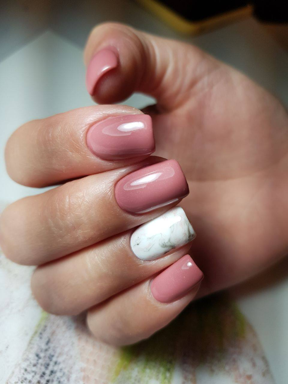 Pink Nails With White Marble Design