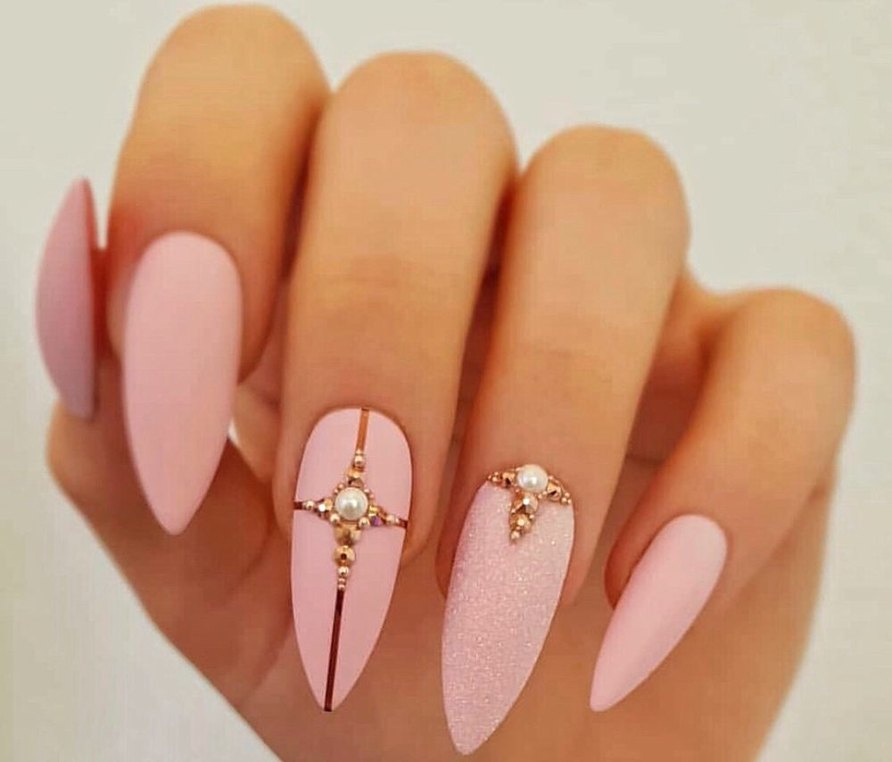 Pink Matte Nails with Design