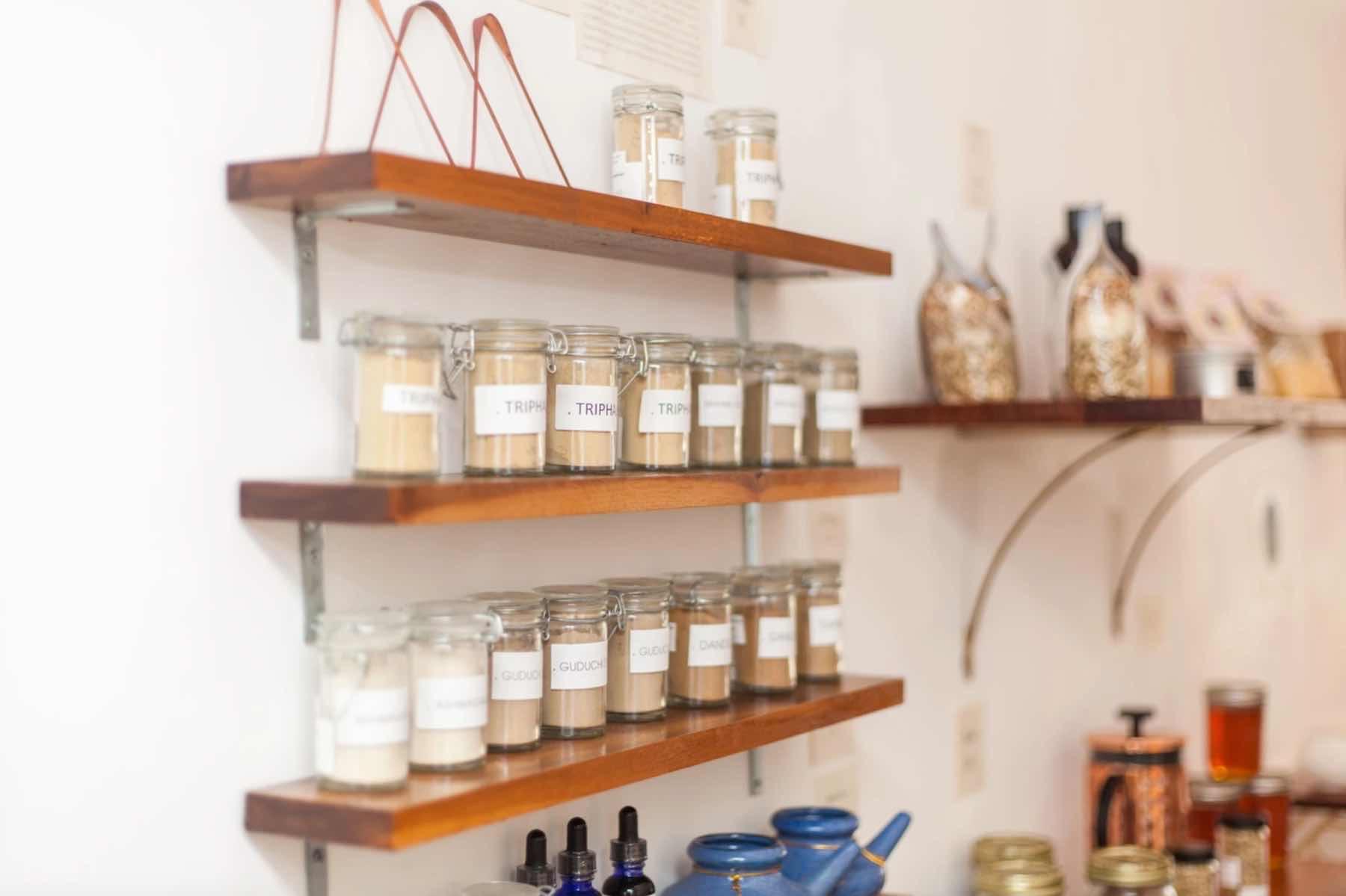 Shelves of Ayurvedic Herbs.