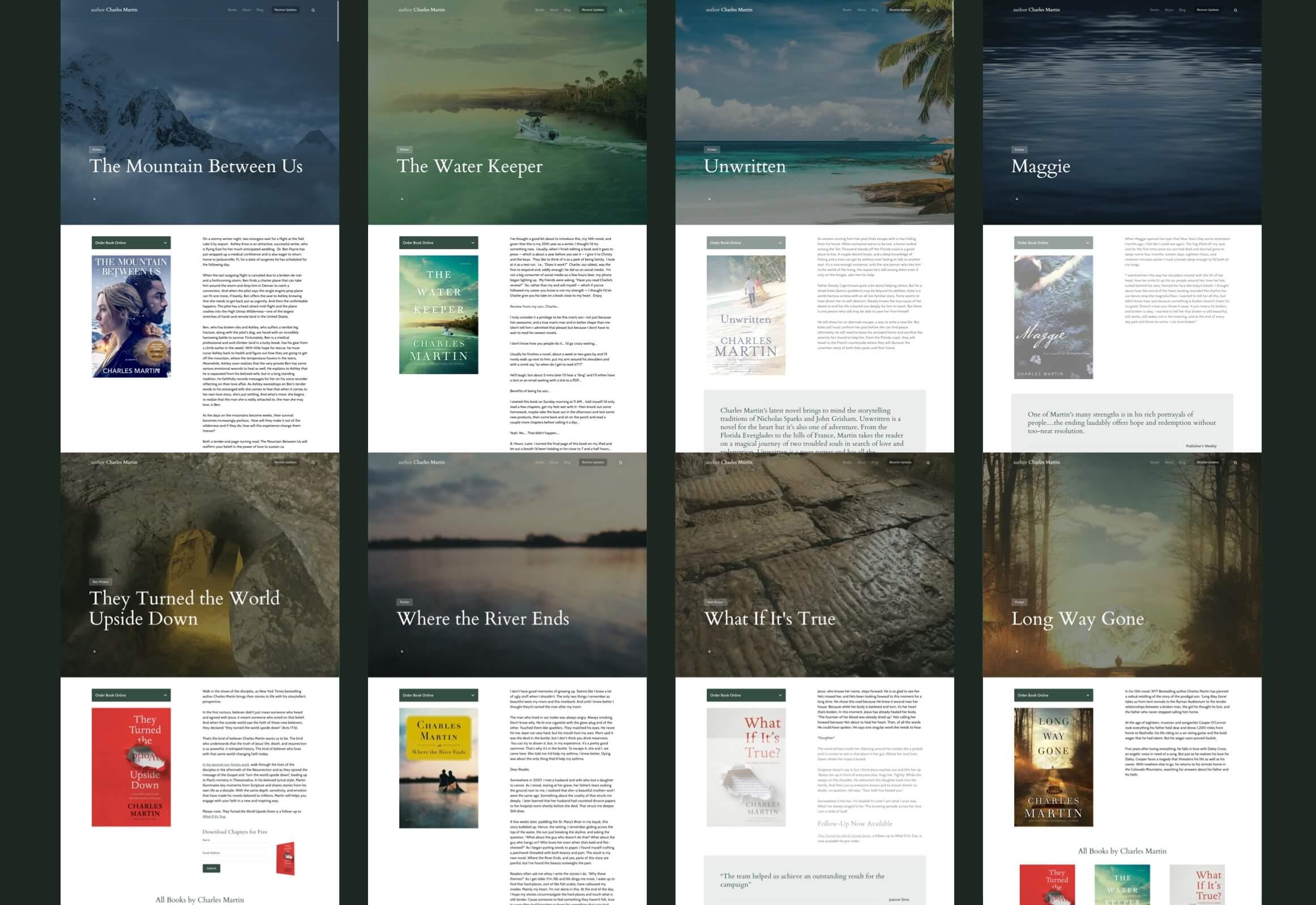 Screen shots of Charles Martin books