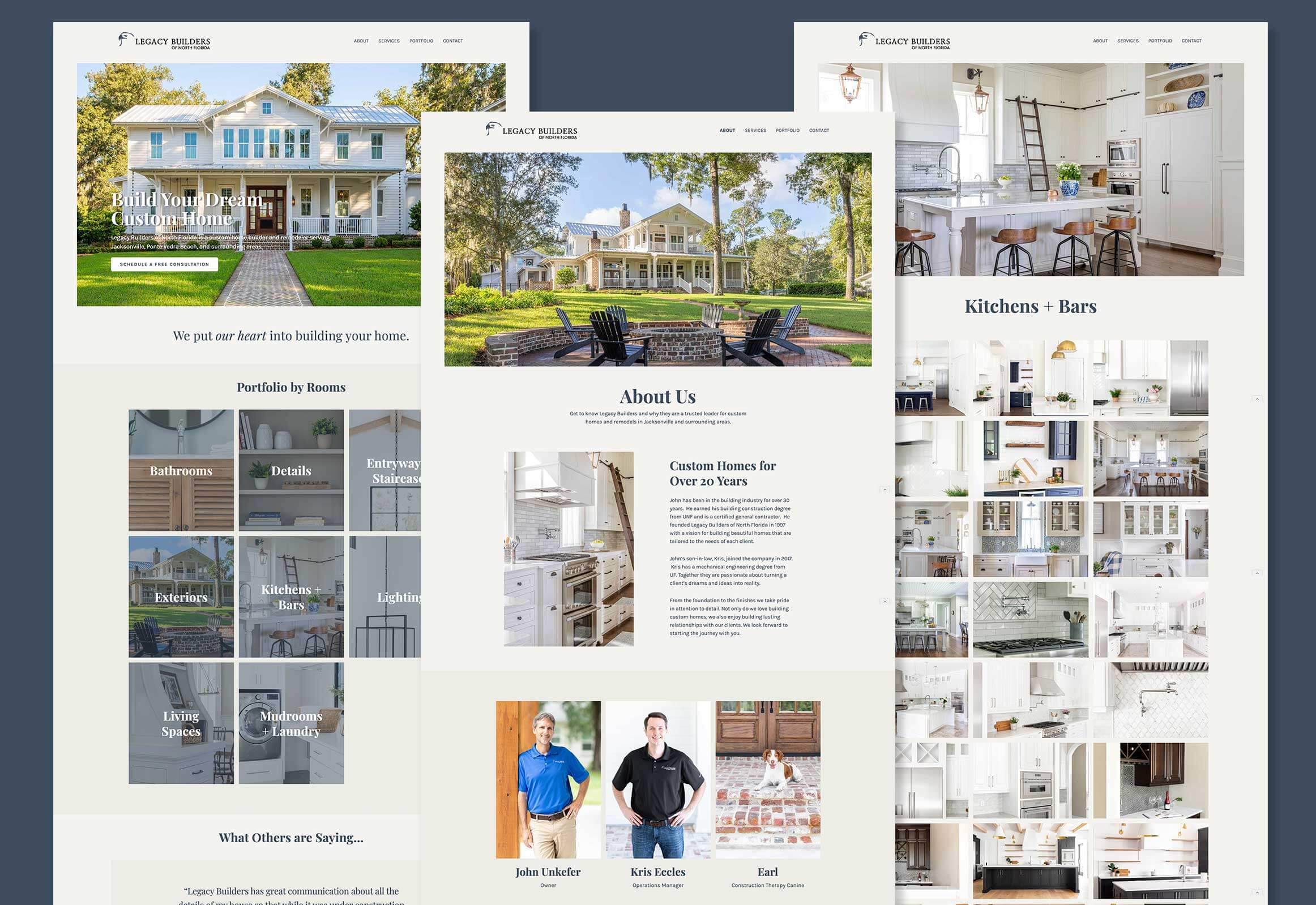 Screenshots of Legacy Builder's Webflow website