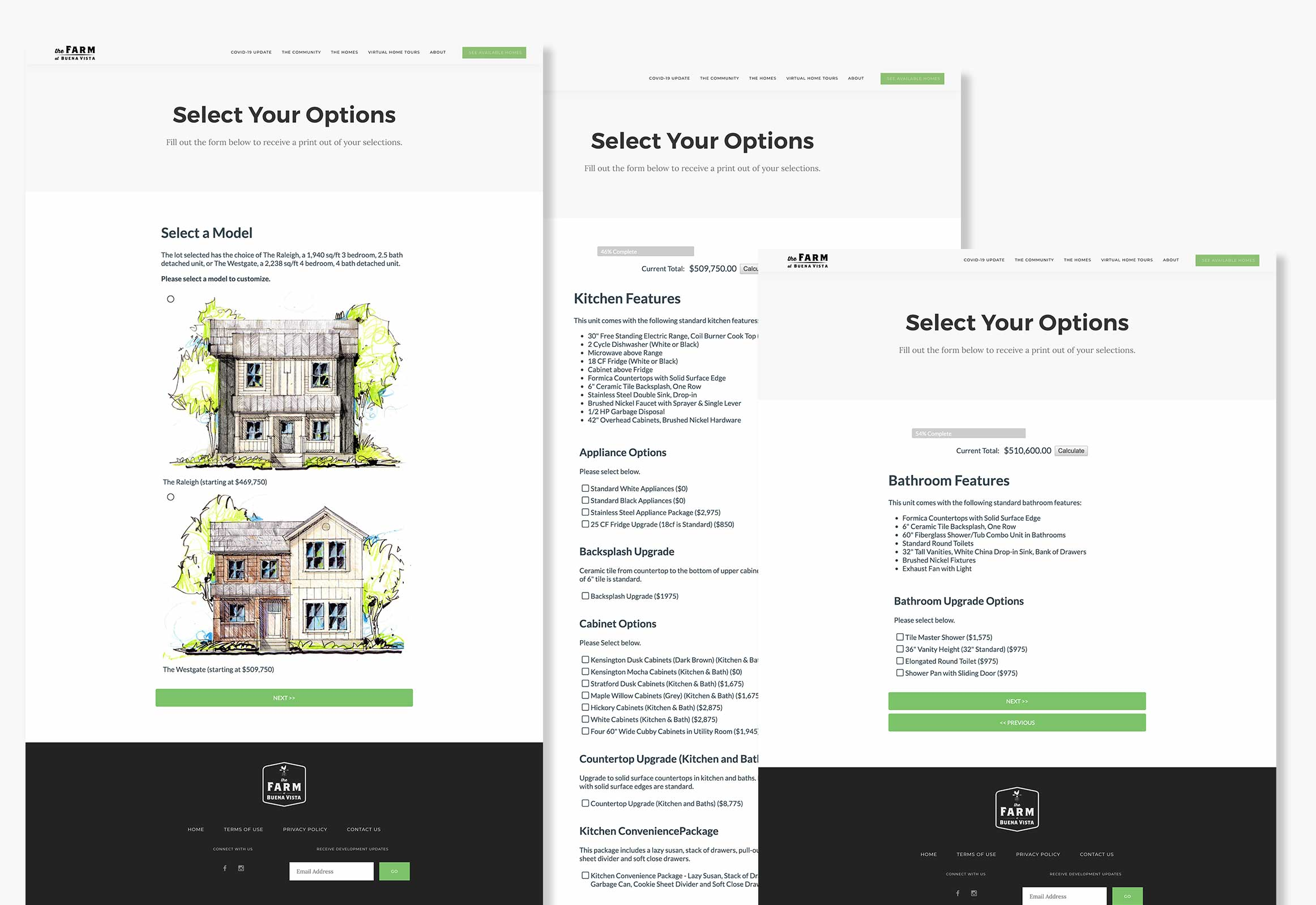 Screenshots on pricing out home