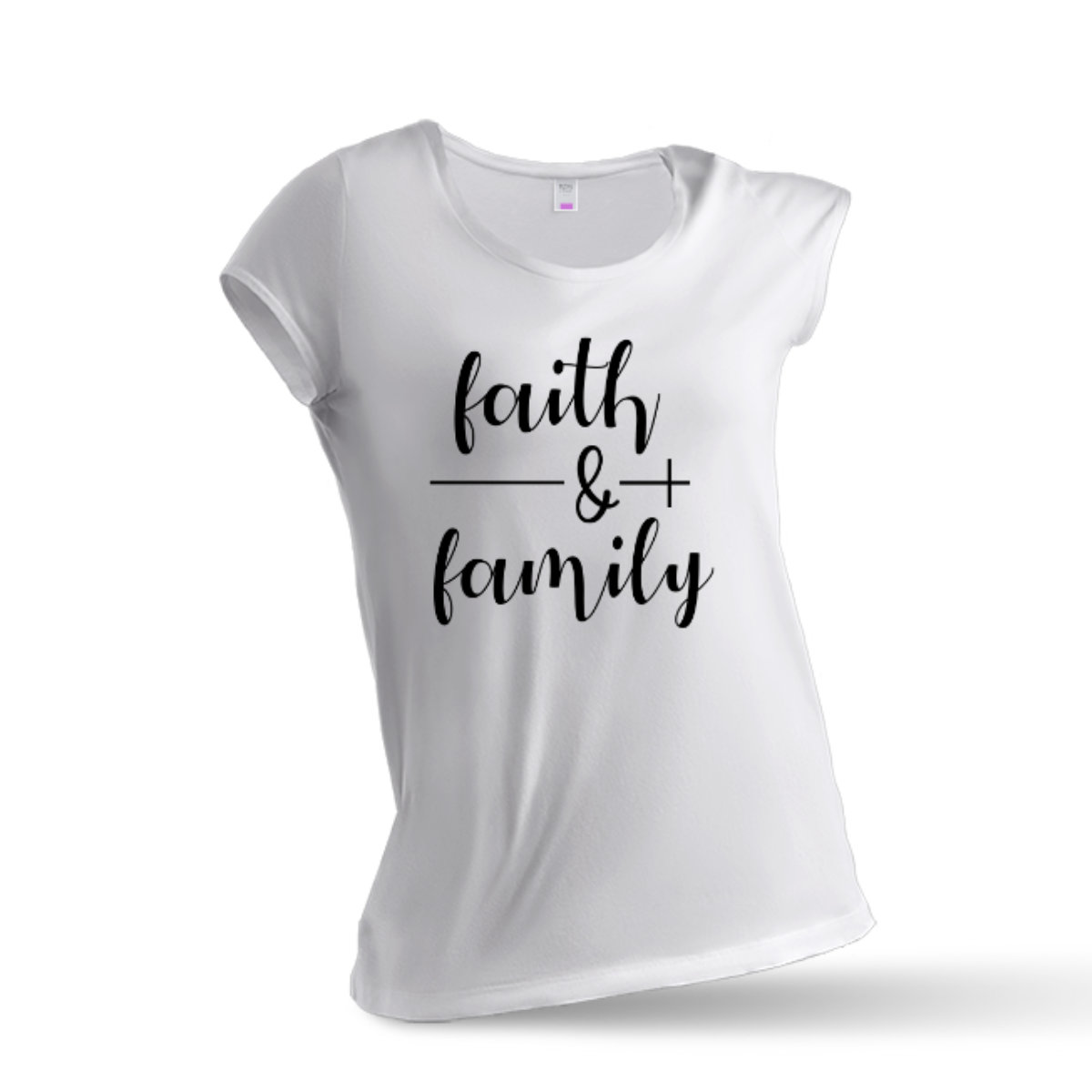 Woman T-Shirt Faith & Family - White