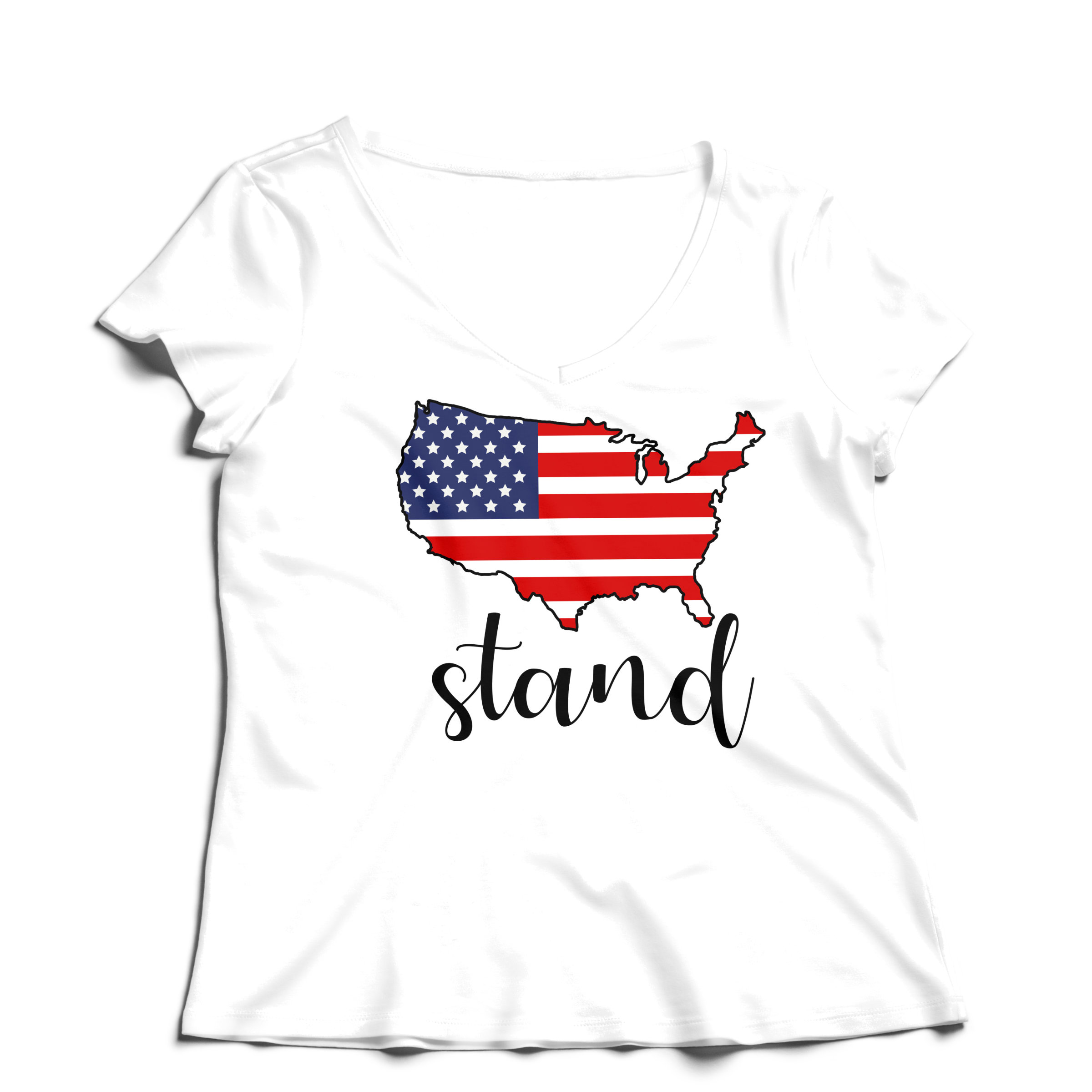 Woman T-Shirt V-Neck Stand - White