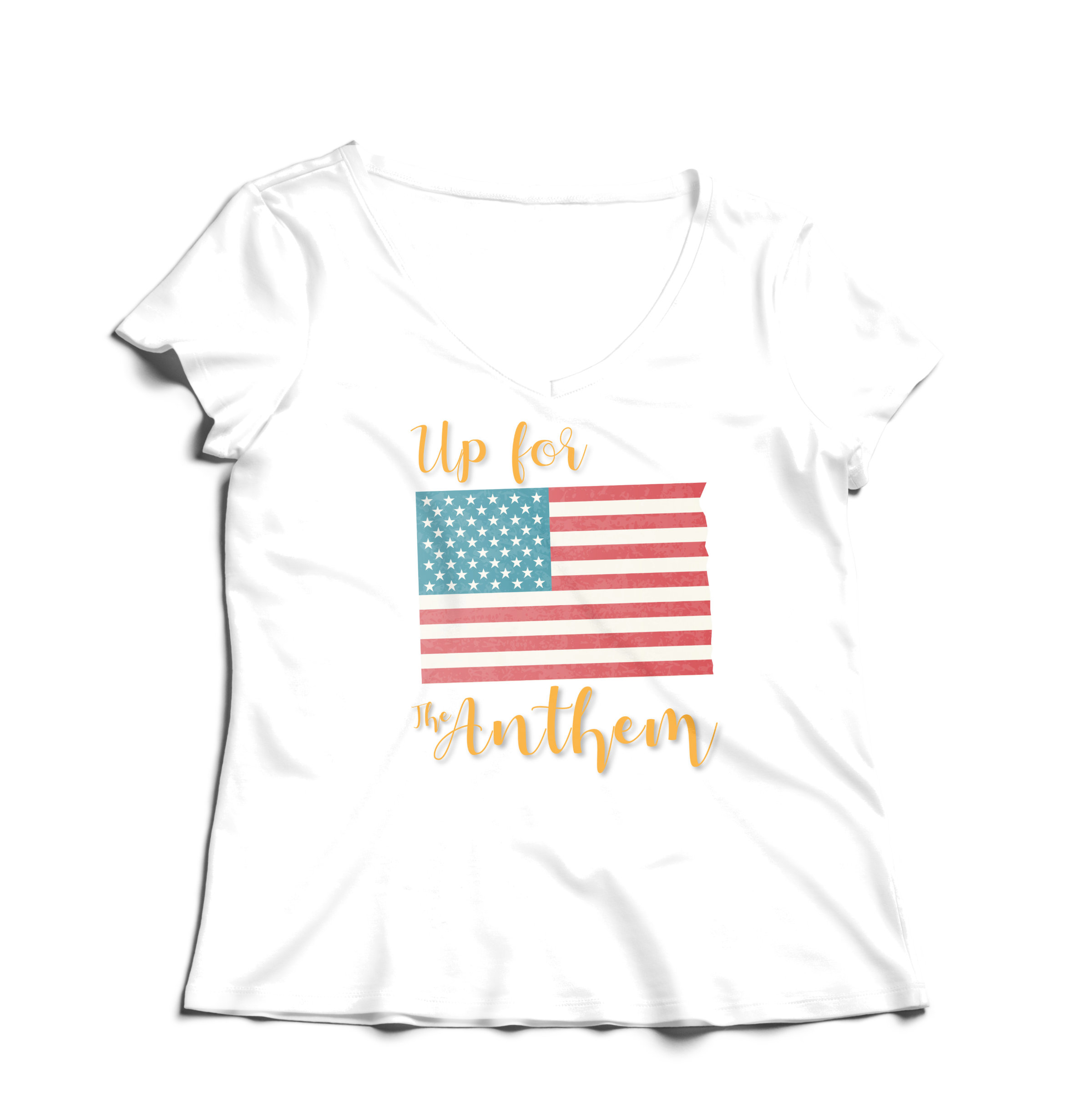 Woman T-Shirt V-Neck Up for the Anthem (1) - White