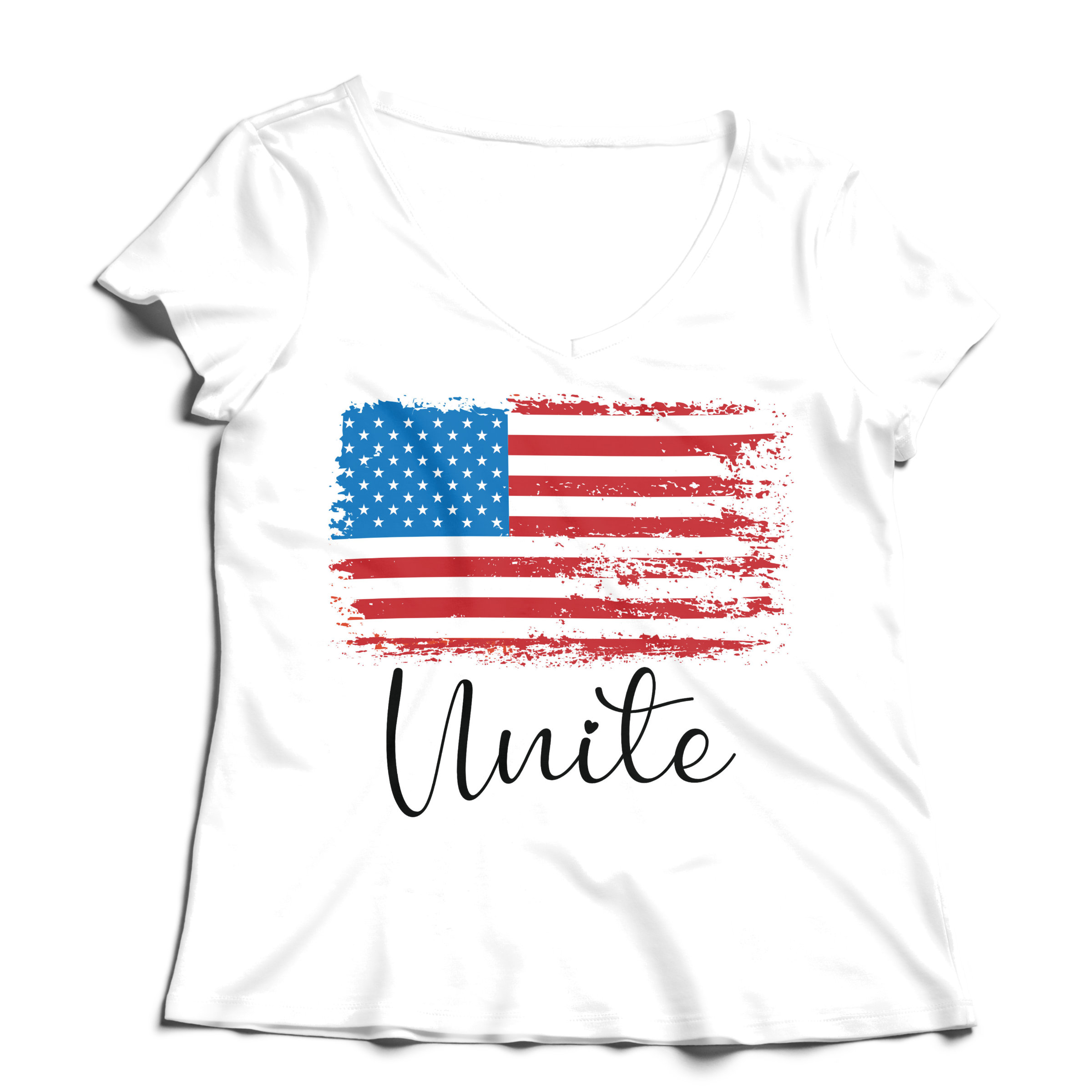 Woman T-Shirt V-Neck Unite - White