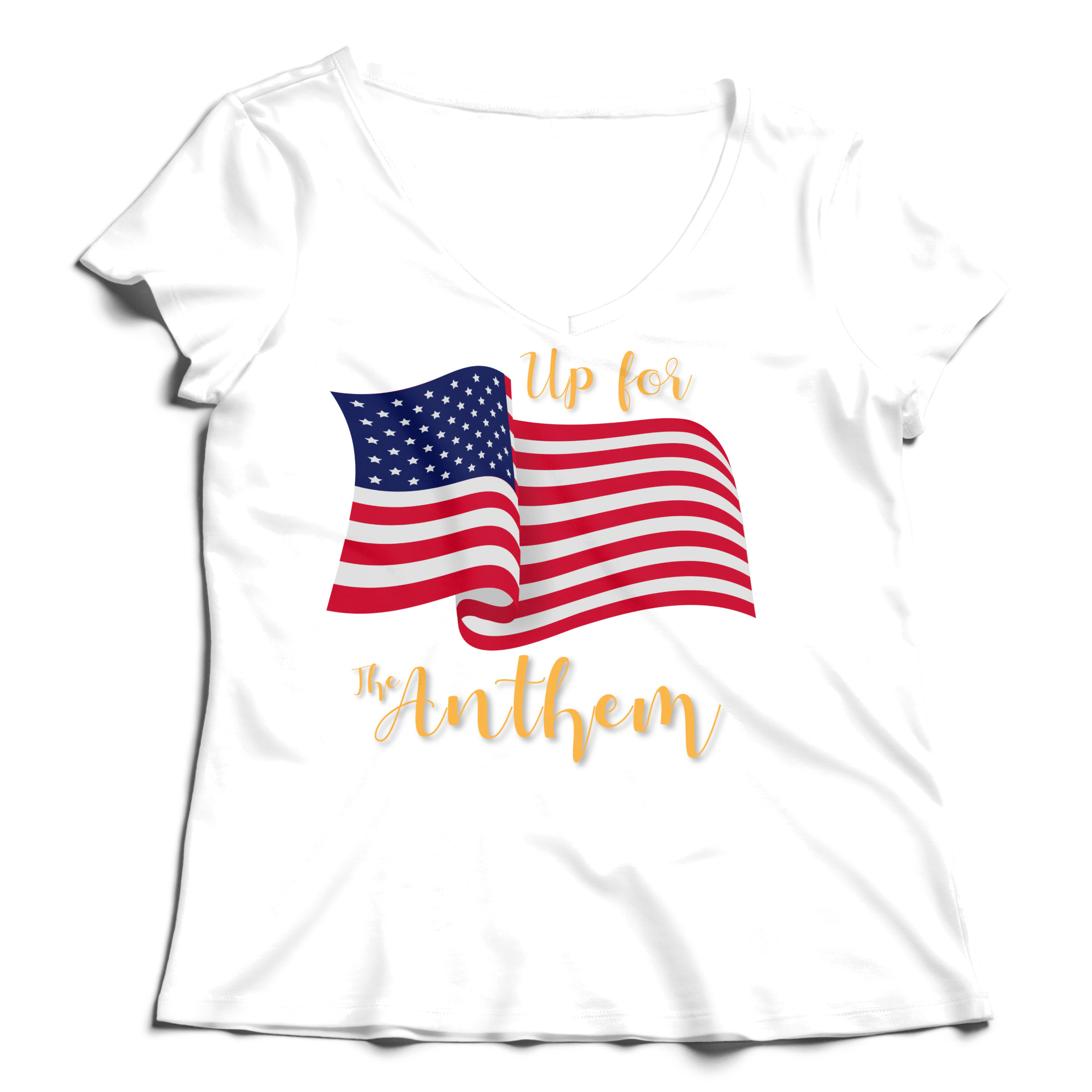 Woman T-Shirt V-Neck Up for the Anthem (2) - White