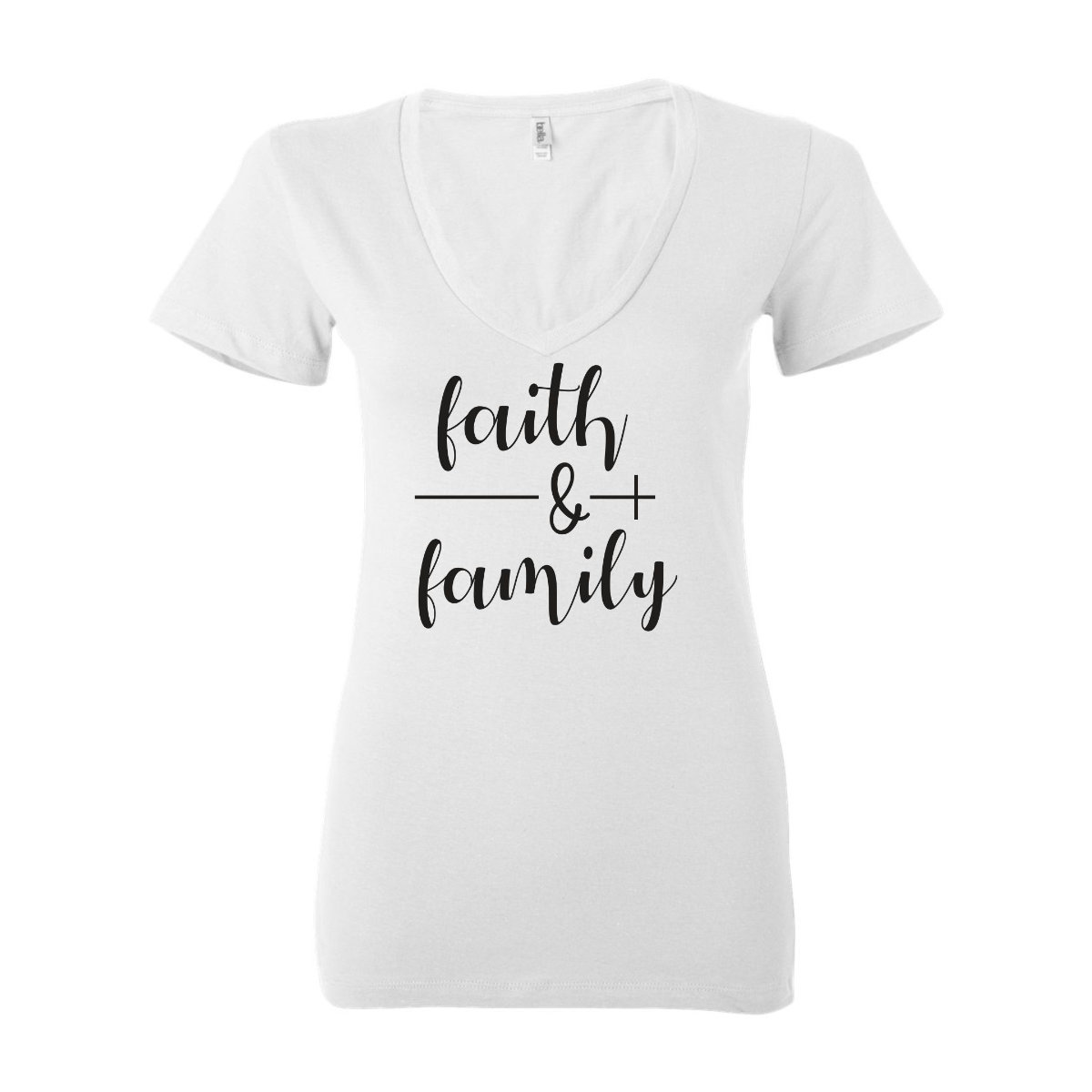Woman T-Shirt V-Neck Faith & Family - White