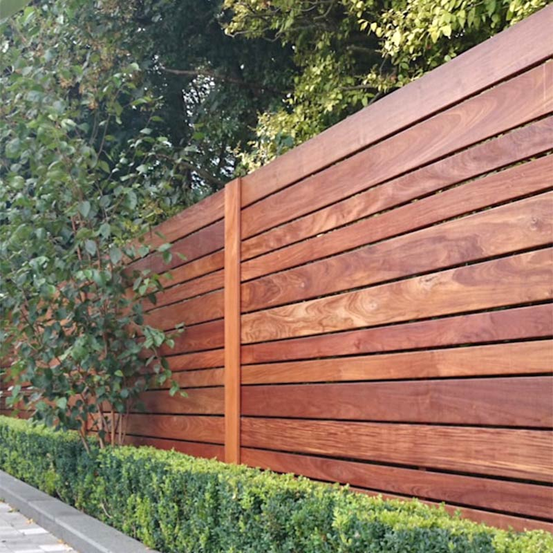 Contemporary horizontal wood fence installation