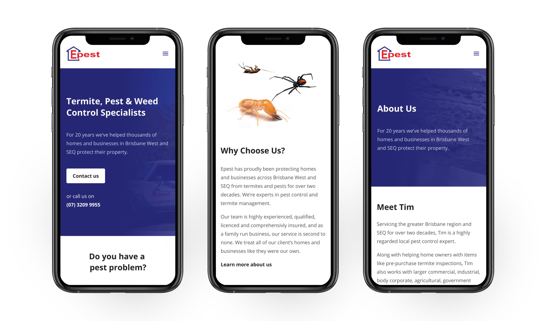 Mockups of the Epest Pest Control Webflow website in both desktop and mobile formats