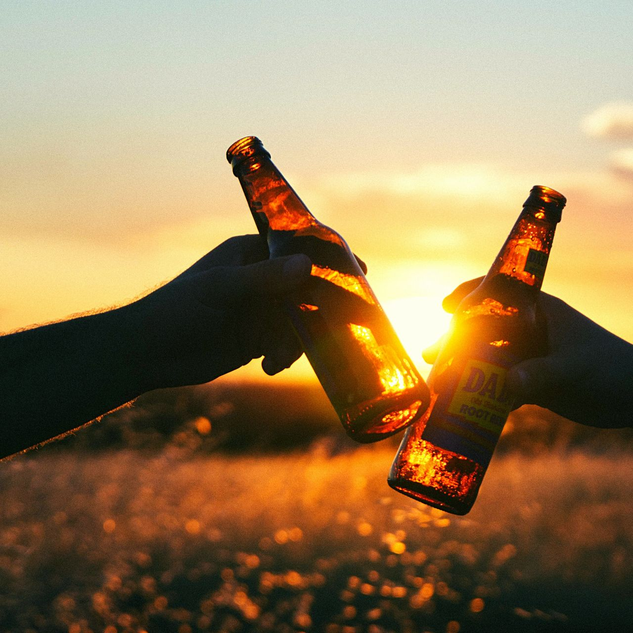 Beers Clinking in the Sunset