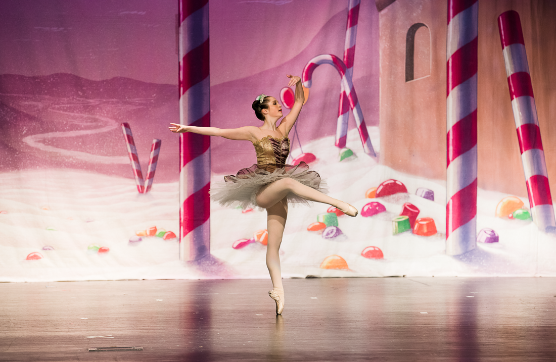 Ballerina in pointe shoes performing Sugar Plum Fairy in the Nutcracker