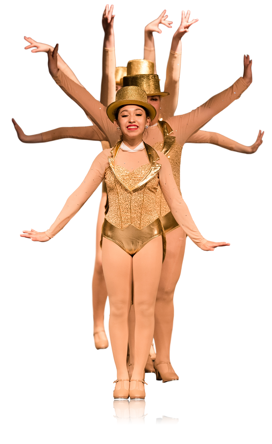 Tap dancers in gold costumes and top hats standing in a line